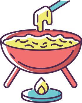 Cheese fondue RGB color icon