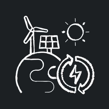 Renewable energy chalk white icon on black background