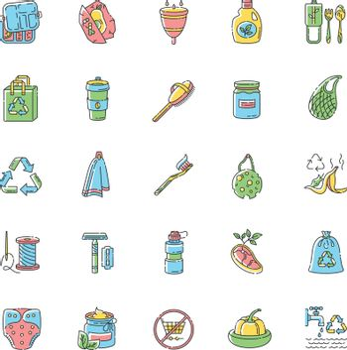 Zero waste RGB color icons set