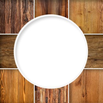 A square collage of wooden textures with a white round copy space in the middle.