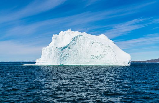 Climate Change. Iceberg afrom glacier in arctic nature landscape on Greenland. Icebergs in Ilulissat icefjord. famously affected by global warming.
