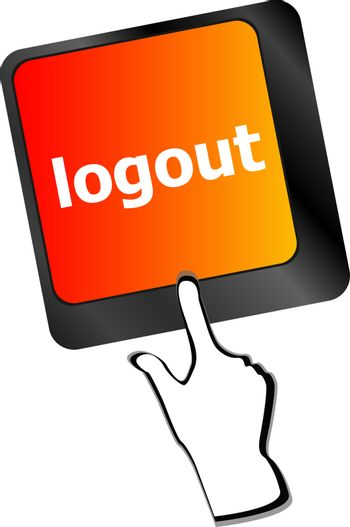 logout word on computer keyboard button