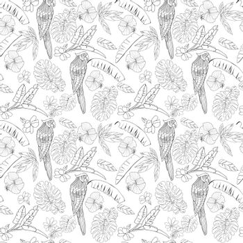 Vector hand drawn tropical summer background. Exotic jungle leaves, flowers and parrot seamless pattern on white background.