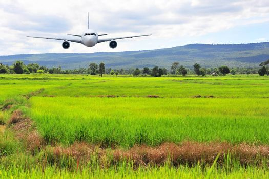 Airplane frying over the green rice flied Mountain background