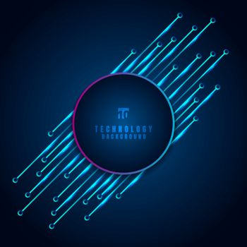 Abstract modern digital technology concept circle frame with circuit board diagonal element on blue background. Vector illustration