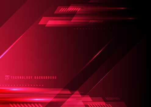 Abstract technology geometric red and black color shiny motion b