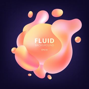 Abstract 3D fluid yellow and pink gradient color bubbles shapes on dark blue background. Creative banner design vibrant geometric elements. minimal style. Vector illustration