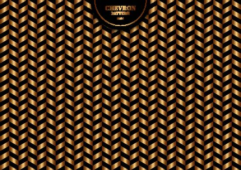 Abstract trendy gold chevron pattern on black background and texture. Luxury style. Vector illustration