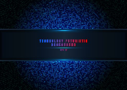 Abstract blue halftone glittering effect with dot radial pattern and glowing lights on dark background technology style with gradient panel and lighting. Vector illustration