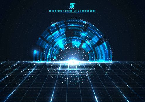 Abstract technology futuristic digital concept engineering gear wheel with perspective grid and lighting glowing particles dots elements on dark blue background. Big data. Vector illustration