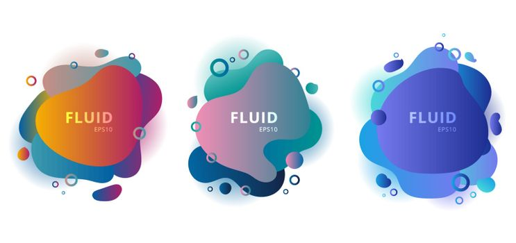 Set of abstract modern fluid shapes color badges graphic elements on white background. Gradient banners with flowing liquid shape. Template for design logo, flyer, presentation, brochure, etc. Vector illustration