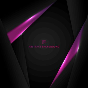 Abstract template design layout metallic purple and black geometric triangle frame background with lighting modern technology style. Vector illustration