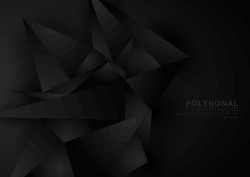 Abstract black geometric polygonal form background with space for your text. Low poly triangles pattern. Vector illustration