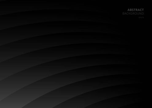 Abstract black and gray curve layer pattern background. Vector illustration