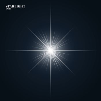 Starlight Shining flare with rays isolated on dark blue background. Vector illustration
