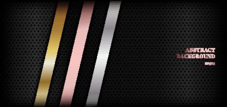 Abstract shiny metallic golden, pink gold, silver stripe diagonal on black premium background with space for your text. Luxury style. You can use for banner web, cover brochure, print ad, etc. Vector illustration