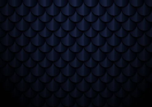 Abstract elegant dark blue geometric semicircle pattern background and texture. Fish scale, roof texture, Vector illustration