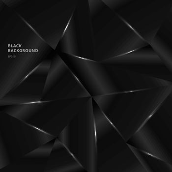 Abstract background black low polygon shape with lighting. Geometric triangle pattern modern style. Vector illustration