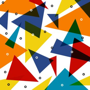 Abstract colorful triangle pattern overlap with circle elements