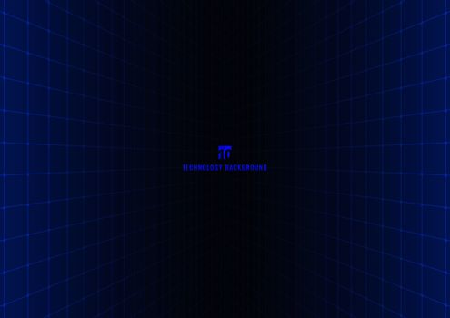 Abstract 90s retro technology futuristic concept blue grid perspective on black background and lighting with space for your text. Vector illustration