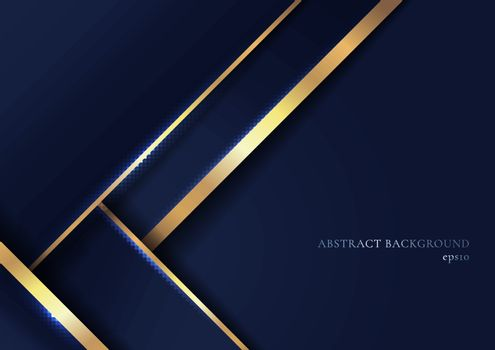 Abstract elegant blue geometric overlap layers with stripe golden line and lighting on dark blue background. Luxury style. Vector illustration