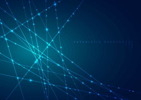 Abstract blue laser line with sparkle lighting on dark blue space background. Digital technology futuristic concept. Vector illustration