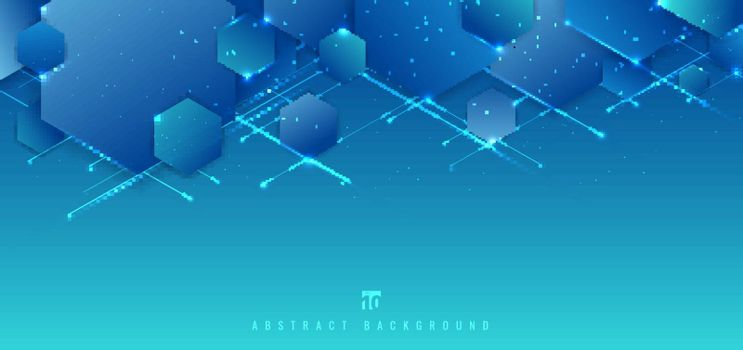 Abstract blue background geometric hexagon  overlapping with line and lighting technology futuristic digital concept. Vector illustration