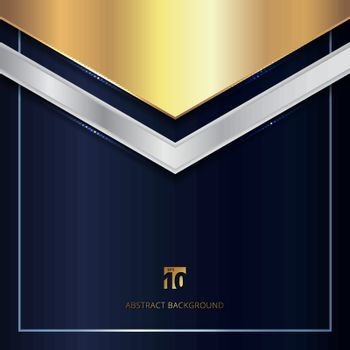 Abstract Gold and Silver Metallic Geometric Triangle Header on Blue Background. Luxury Style. Vector Illustration