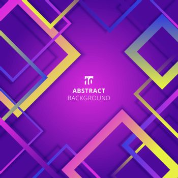 Abstract Geometric Square Border Pattern colorful Overlapping On Purple Background. Vector Illustration