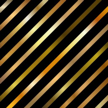Abstract Golden Gradient Color Diagonal Striped Lines Pattern on Black Background. Vector Illustration