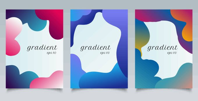Set of brochure template abstract fluid gradient shape and fun colors pattern background texture. Vector illustration