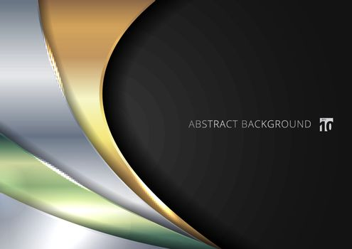 Abstract template shiny golden, silver, green metallic curve overlapping layer on black background. Vector illustration