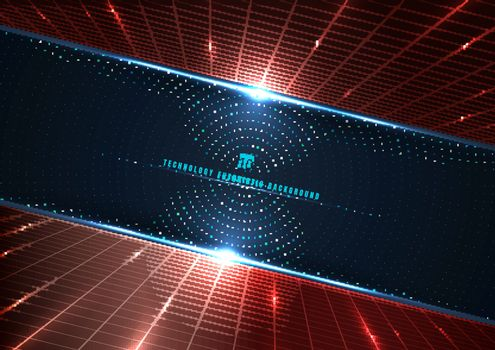 Abstract technology futuristic digital concept perspective red grid and lighting effect glowing particles dots elements circle on dark blue background. Big data. Vector illustration