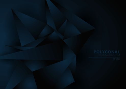Abstract dark blue geometric polygonal form background with space for your text. Low poly triangles pattern. Vector illustration
