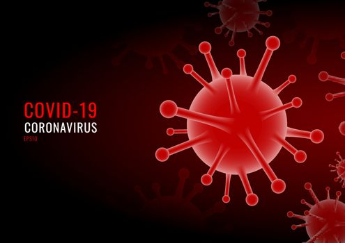 Coronavirus COVID-19 virus red background. China pathogen respiratory influenza covid virus cells. Vector illustration