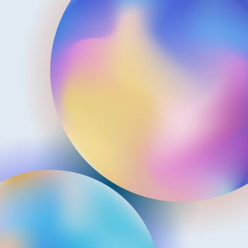Abstract trendy 3D circle gradient color on blurred background