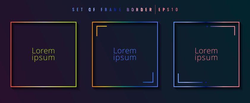 Set of gradient square border frame vibrant color on dark backgr