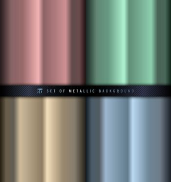 Set of gradient pink, green, blue and gold metallic background a