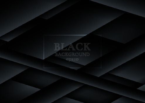Abstract 3D black paper cut overlapping layers on dark backgroun