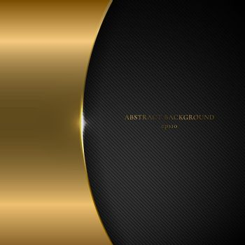 Abstract template gold metallic curve on black background and te