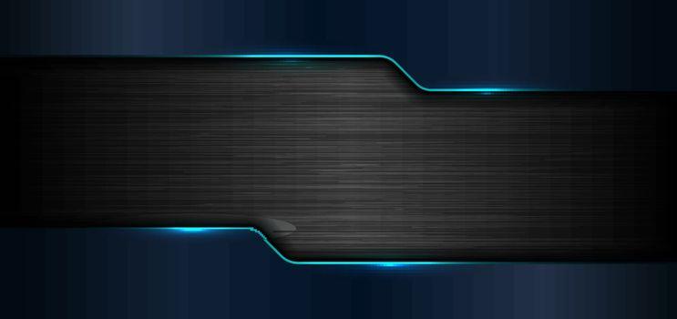 3D banner web template geometric blue glow shiny metallic on bla