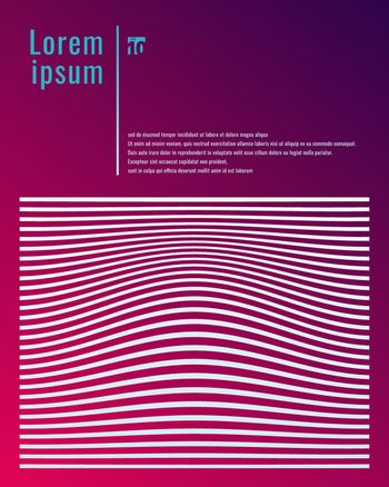 Template poster design white lines stripes and wave pattern on p