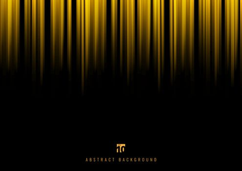 Abstract yellow stripe vertical lines light on black background