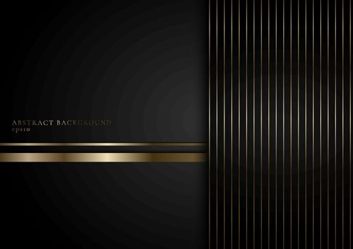 Abstract stripes golden lines on black background