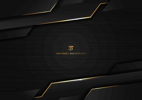 Abstract technology geometric glowing gold and black color shiny
