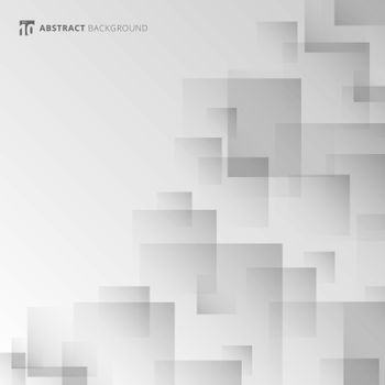 Abstract background white and gray geometric square overlapping