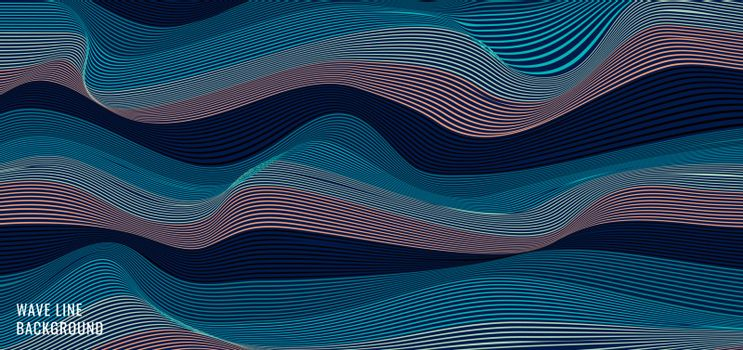 Abstract striped wavy blue wave lines pattern background and tex