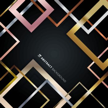 Abstract geometric square border pattern golden, silver, pink go