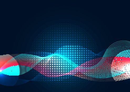 Abstract blue wave line with halftone on dark background