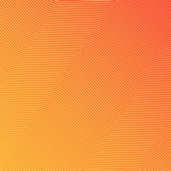 Abstract yellow wave lines pattern on orange background and text